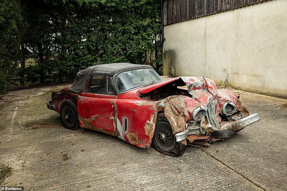 The keeper, who first bought the super-rare Jaguar in 1971, collected the car from the crash scene on a trailer and transported it to a garage at his property, which is where it has remained for the last 25 years