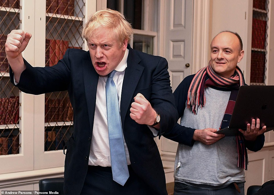 The Prime Minister, by all accounts, laughed off the suggestion that Dominic Cummings, once his trusted and all-powerful chief adviser, might take a noisy revenge for his sacking. Well, perhaps he's not laughing quite so hard now. (Above, the pair on Election night in 2019)