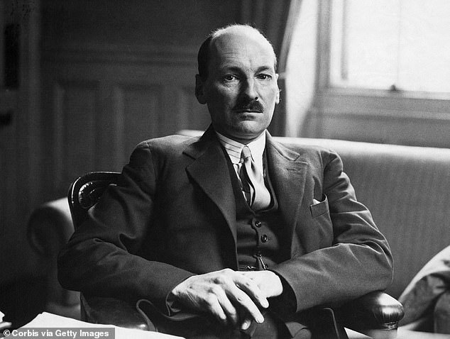 In 1945, Labour reached its peak, winning a landslide victory under Clement Attlee (above) and establishing the NHS and the modern welfare state