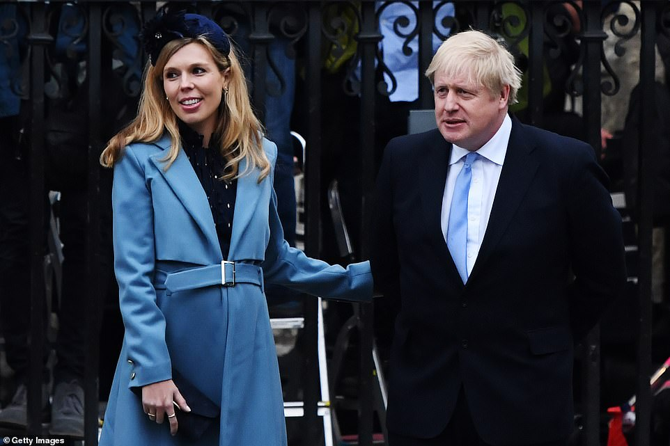 The Mail understands that the attack on Mr Cummings was personally ordered by Mr Johnson. One Westminster source claimed Mr Johnson had been 'put up to it' by Miss Symonds (pictured with Mr Johnson in March 2020), who was said to be incandescent about briefings claiming she had tried to damage the careers of young Tory women.