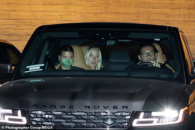 Pals:The new couple were joined by friends during their dinner at celebrity hotspot Nobu Malibu