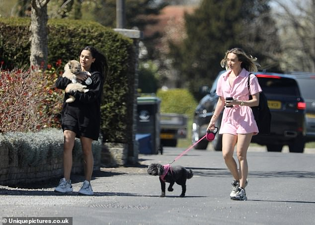 Cute!Megan revealed on Instagram she had joined her pal for a puppy play date, as her dog Daisy met her friend's new pooch