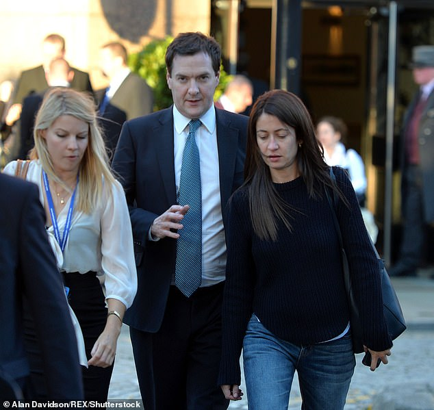 Outwardly, all is rosy, and yet friends of the couple have told The Mail on Sunday that not everything is as perfect as it seems. Pictured: George Osborne with Thea Rogers (right) in 2013