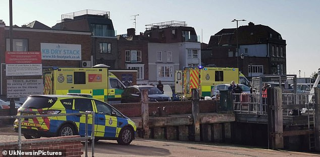 The UK Coastguard, Military Police, a coastguard rescue helicopter, Gosport and Fareham independent lifeboat were all called to the scene in Portsmouth today