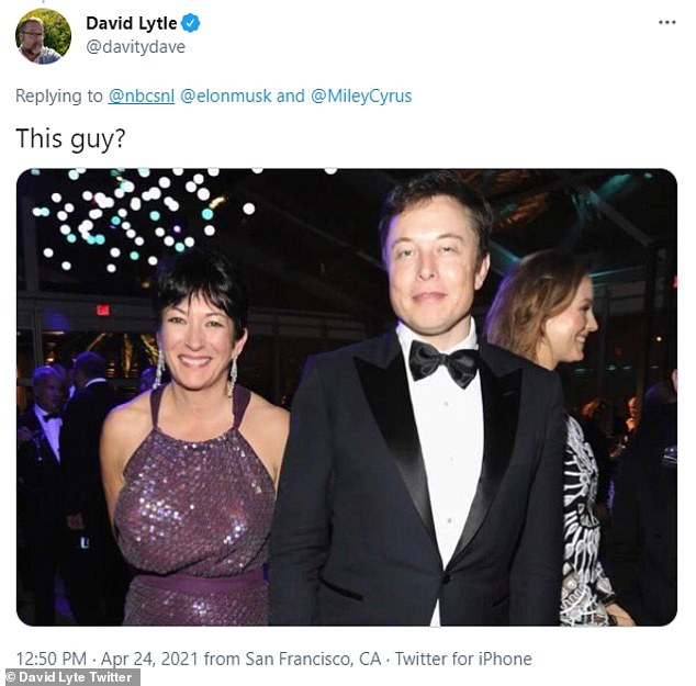 Bad company: A more bold Twitter user took a dig at Musk's character as he shared a photo of him with now disgraced Jeffrey Epstein associate Ghislaine Maxwell and wrote 'This guy?'