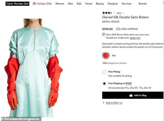 Another shopper, fromSouth Phoenix, was left baffled after finding a gloved silk bolerojacket, resembling hospital scrubs, available on Nordstrom from Meryll Rogge for $740