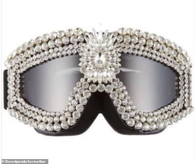 The items, collated by Bored Panda from Twitter, included $925 crystal skiing googles that one person, fromRaleigh, North Carolina, claimed was a 'terrible idea' due to snow reflection