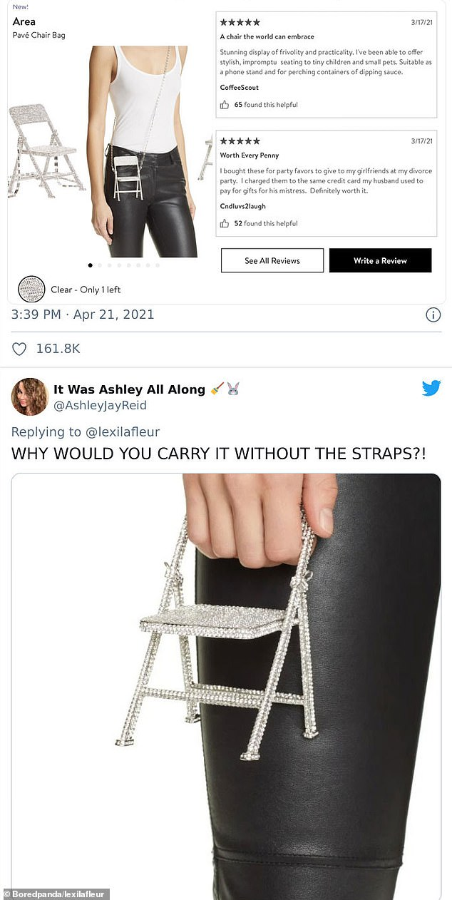 One shopper, fromMinnesota, was left baffled after finding an AREAPavé Chair Bag costing a staggering $895 for sale on Nordstrom, despite having no apparent purpose