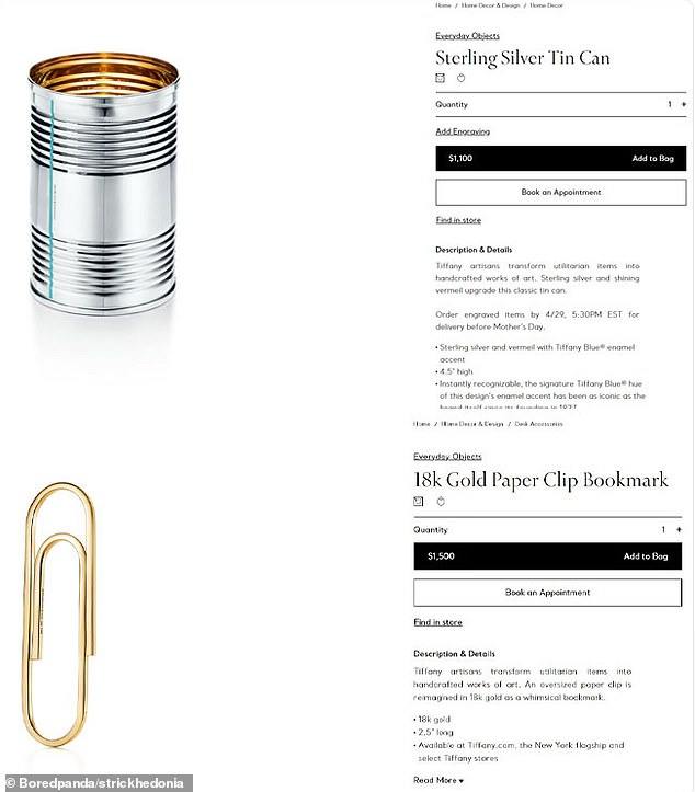 Another American shopper was left baffled after finding an 'overpriced' 18k gold paper clip costing $1,500 and a $1,100 sterling silver can for sale at Tiffany's