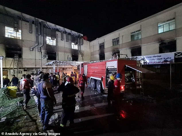 The fire at the Ibn al-Khatib hospital in the Diyala Bridge area of the Iraqi capital started on Saturday night after a 'fault' caused oxygen tanks to explode, medical sources at three nearby hospitals said