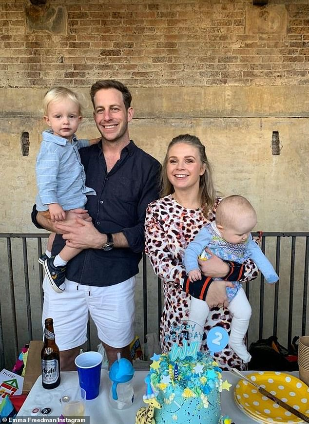 Sweet:Emma Freedman announced the arrival of her second child, a daughter named Edie Lucinda Rundle, in October last year. But on Sunday she was celebrating the birthday of her older child, son William, who turned two. All pictured