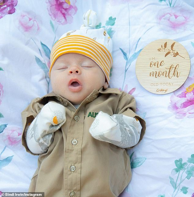 Ready for work! Bindi Irwin's daughter Grace received her 'first khakis' on Sunday to celebrate turning one-month-old