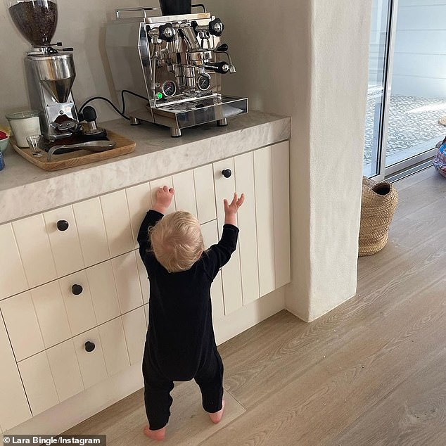 Family: The notorious private couple have yet to share photos of their children, but Lara recently shared this sweet shot of their 10-month-old son River