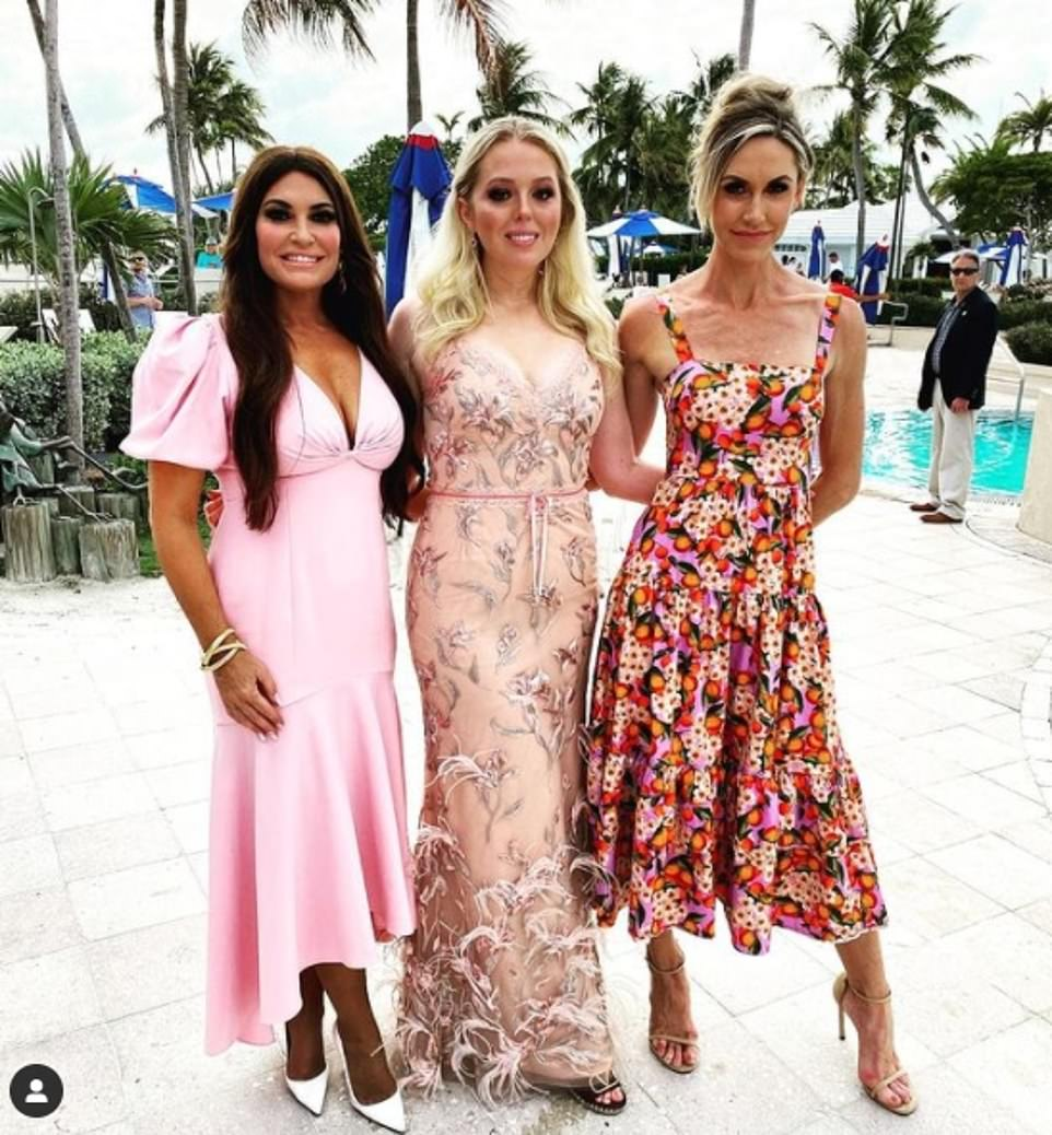 Lara Trump, right, posted a photo on Instagram on Saturday showing her arm in arm with Tiffany, 27, middle, Donald Trump's youngest daughter, and Guilfoyle, 52, left - a top official on the president's 2020 campaign - at a resort in North Key Largo