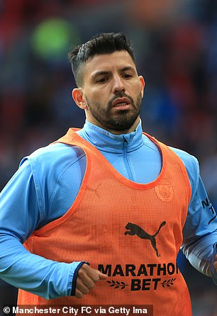 Sergio Aguero was an unused substitute in the Carabao Cup final