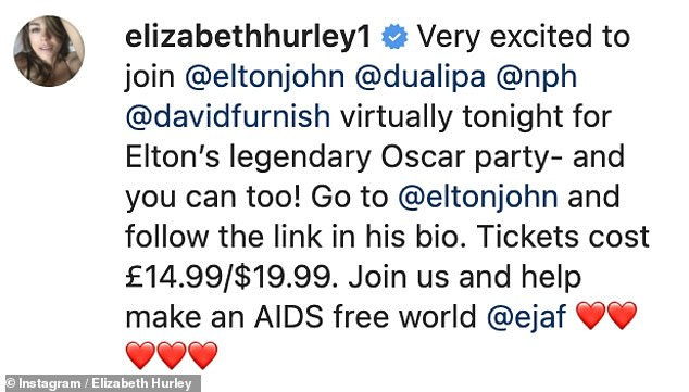Get involved! Elizabeth told fans they could also take part in the infamous showbiz event, which will see Neil Patrick Harris hosting and Dua Lipa performing, for just £14.99