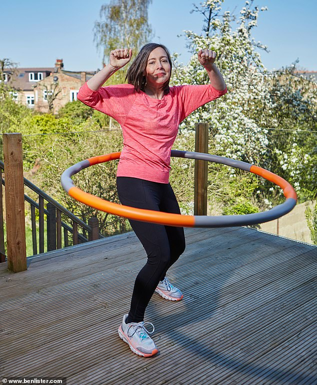 Anna Maxted has trialed five of the best activities which can help you to build strength with added weight, for example skipping and hula hooping (pictured)