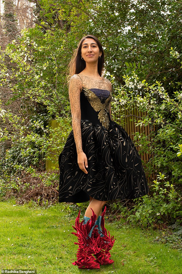 Digital fashion has been around for more than five years, but has taken off in recent years (pictured: Radhika wearinga £43 black and gold dress called ¿Fly¿ by a ¿couture digital designer¿ on DressX paired with some £36 red ¿shoes¿)