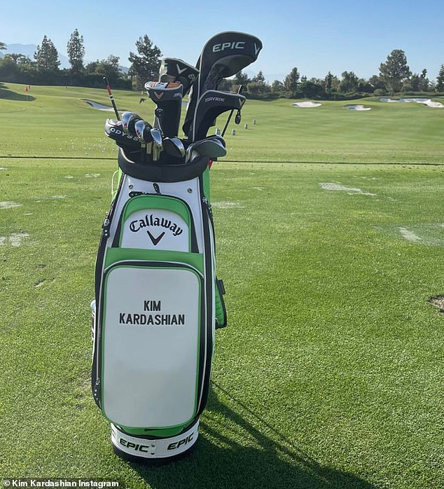Custom carrier: Kardashian also shared a shot of a golf bag that featured her name embroidered on its side