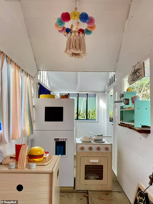 When Kymberleigh shared the results of her cubby on Facebook, more than five thousand people were impressed with her handiwork (interiors pictured)