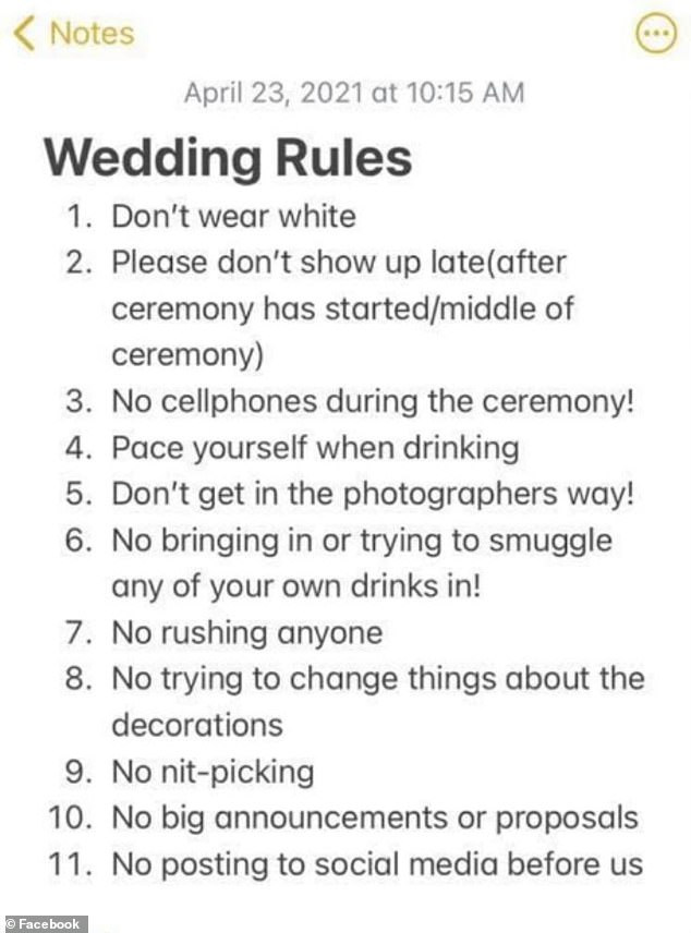 A bride-to-be has been labelled 'rude' for treating her wedding guests like 'inmates' after she penned a list of 11 strict rules to send out with invitations