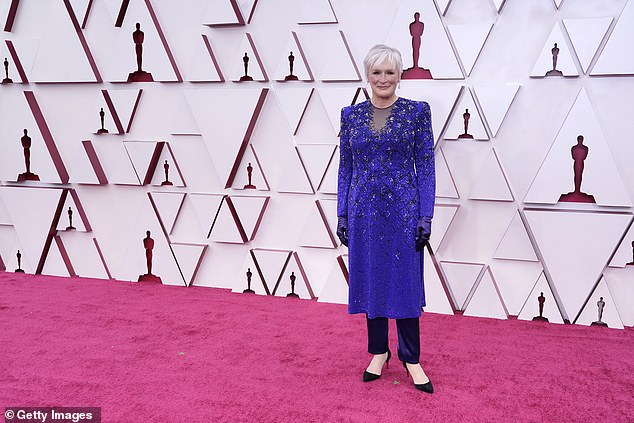 Feeling blue: Legendary actress Glenn Close was vision in a blue dress worn over black trousers