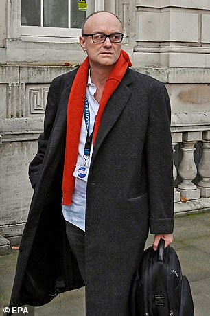 Dominic Cummings arrives to No 10 Downing Street in London, November 13, 2020