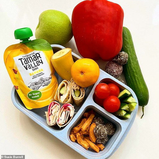 A dietitian has revealed exactly what to pack in your child's school lunchbox in order to keep them satiated and well-nourished throughout the school day (the ideal school lunch pictured)