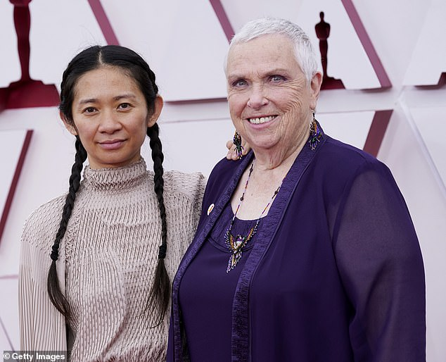 Nod of respect: The director hit the red carpet before the ceremony with real-life nomad Charlene Swankie, who appeared in the Oscar-nominated motion picture