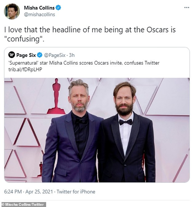 """Confusing:He also retweeted Page Six, which reported that his presence at the Oscars, 'confuses Twitter,' which he added, 'I love that the headline of me being at the Oscars is """"confusing'"""