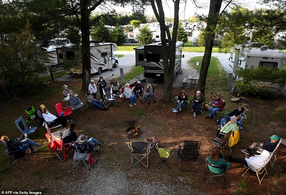 The group (pictured) are seen participating in an RV camping weekend at the Ramblin Pines campsite just outside of Baltimore in Woodbine, Maryland, this weekend.RVing Women was founded in 1991 and boasts more than 2,000 members. Some travel alone and are retired, while others go together in small groups and continue working