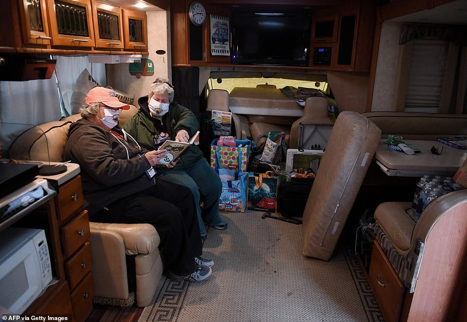 Sandy Bosley (pictured right) and Kathy Healy (pictured left), members of the RVing Women mid-Atlantic chapter, are seen inside their motorhome during the camping event this weekend