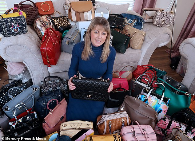 Nicola's handbags range from £2,500 Chanel bags to £5 Primark bags but Nicola's dream is to add a Mulberry bag to her collection. She is pictured holding a Chanel bag