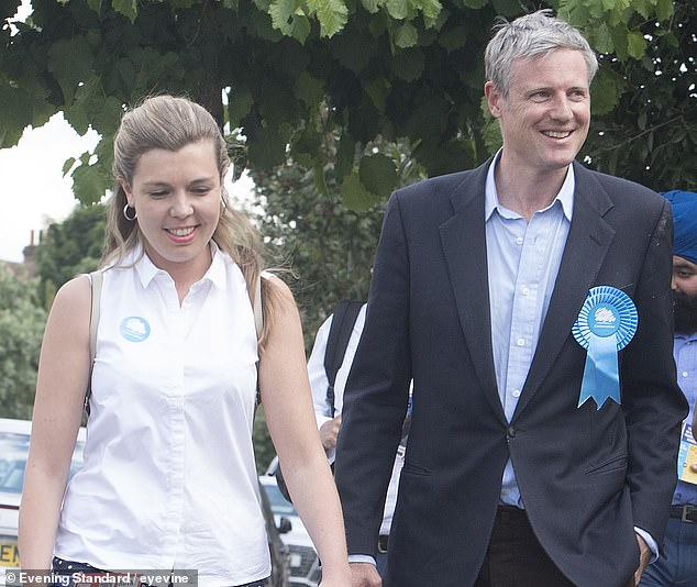 Environment Minister Zac Goldsmith and Boris Johnson's fiancée Carrie Symonds are pictured canvassing on the streets of Richmond in South West London in June 2017