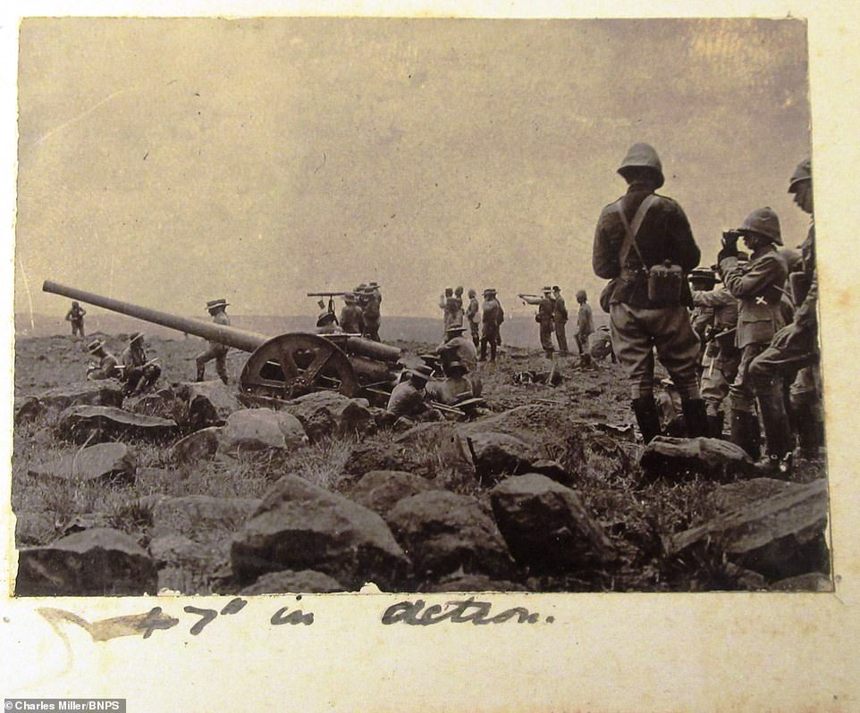 Dorling was on the front line during the Second Boer War and pictured soldiers looking out at their enemies with binoculars while surrounded by guns.Despite the British Army's vast numbers, officers struggled to combat the much smaller but well-trained and mobile Boers