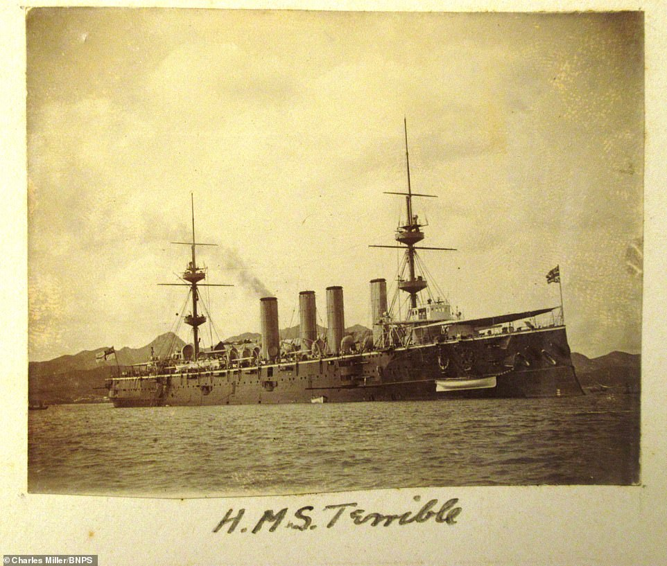 HMS Terrible is seen above while at sea. Captain Scott's effort to re-purpose his ship's guns for the fighting on land saw his men successfully mount them on to make them able to move. A brigade of men from the Terrible then took part in the effort to aid troops stationed at Ladysmith
