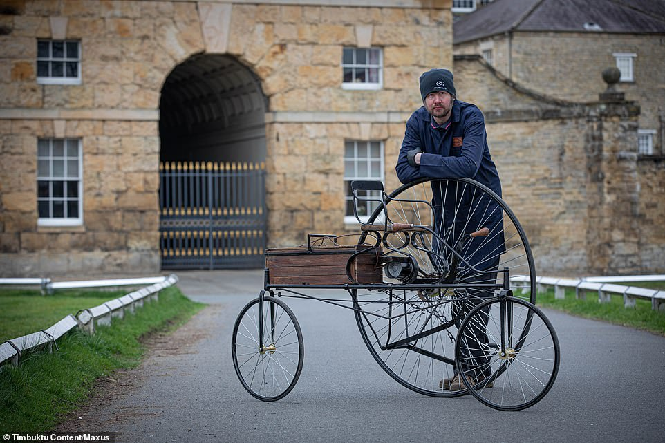 The replica vehicle, which took two months to create and was produced by Penny-Farthing builder,Christian Richards (pictured)