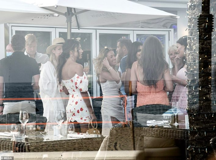 TOWIE stars Jess Wright, Mark Wright, Michelle Keegan, Elliott Wright, Sadie Stuart and William Lee-Kemp are pictured at the restaurant in summer 2020