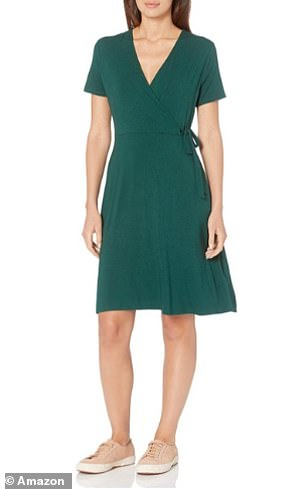 The Amazon Essentials Women's Cap-Sleeve Faux-wrap Dress in Jade