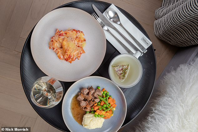 Hilton's canine-coveted menu consists of four 'pup-tastic' meal options, including Beef Doguignon and Mutt Roast