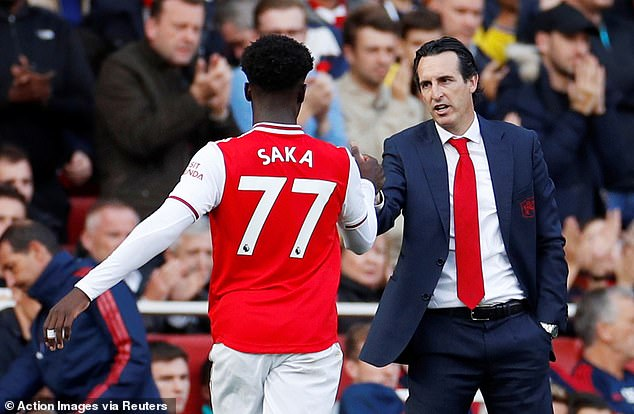 Emery gave Bukayo Sakah his Arsenal debut and jokes he has come a long way since that point