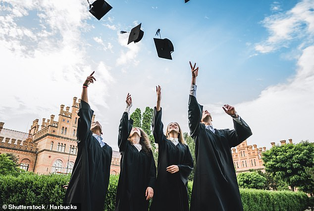 Going to college or university and getting a degree (pictured) may help prepare you for the working world — but it won't stop age-related brain shrinkage, a study found