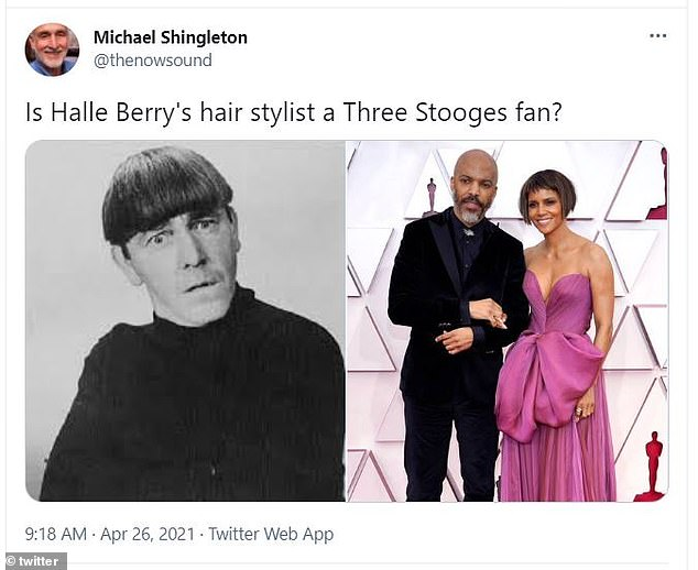 Classic: Others thought her hair looked like Moe's bowl cut in the Three Stooges