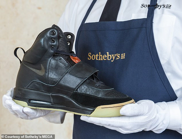 Sotheby, which handled the sale, said West's  'Grammy Worn' Nike Air Yeezy 1 was bought by RARES for $1.8million.