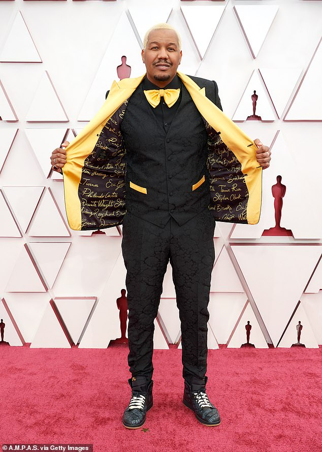 Director Travon Free turned his Oscars acceptance speech into a condemnation of police killings during the 93rd Academy Awards on Sunday night.Earlier, as he walked the red carpet, Free also made a political statement, showing off the inside of his jacket which was emblazoned with the names of black people killed by police, including Philando Castile, Tamir Rice, Rayshard Brooks and Daunte Wright
