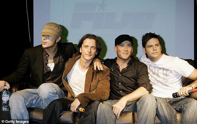 (L-R) Richard Abs Breen, Richie Neville, Jason Brown and Scott Robinson of British boyband 5ive (Five) announce reforming at the Carling Academy, Islington on September, 2006 in London.