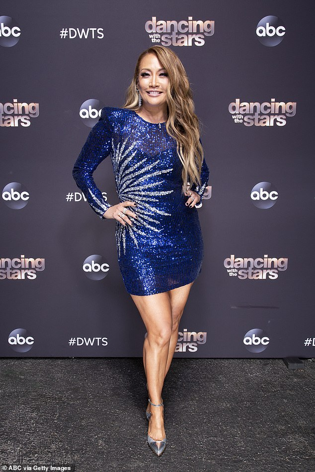 Stepping away:She continued: 'She appreciates the support from all her fans and her family at The Talk. We miss you Carrie Ann, and we look forward to having you back with us soon;' Carrie Ann pictured on the Dancing With The Stars red carpet last year