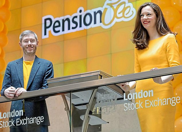 Pensionbee's stock is up 8.2 per cent from its IPO price of 165p. The rise will come as a relief to founders Romi Savova and Jonathan Lister Parsons (pictured last week at the float)