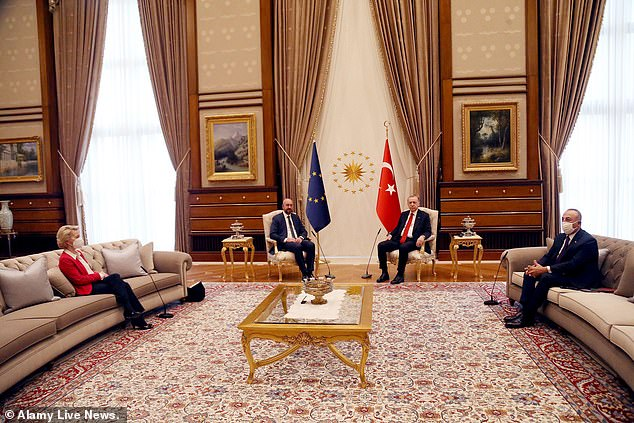 Pictured: European Commission President Ursula Von der Leyen was forced to sit on a sofa beside colleague Charles Michel and Turkey's President Erdogan during a meeting in Istanbul in April. After the humiliating meeting,Von der Leyen said she raised the issue of the Istanbul Convention with Erdogan during their summit