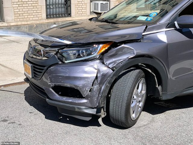 The dented front of the Upper East Side victim's car. It's unclear if the damage is connected